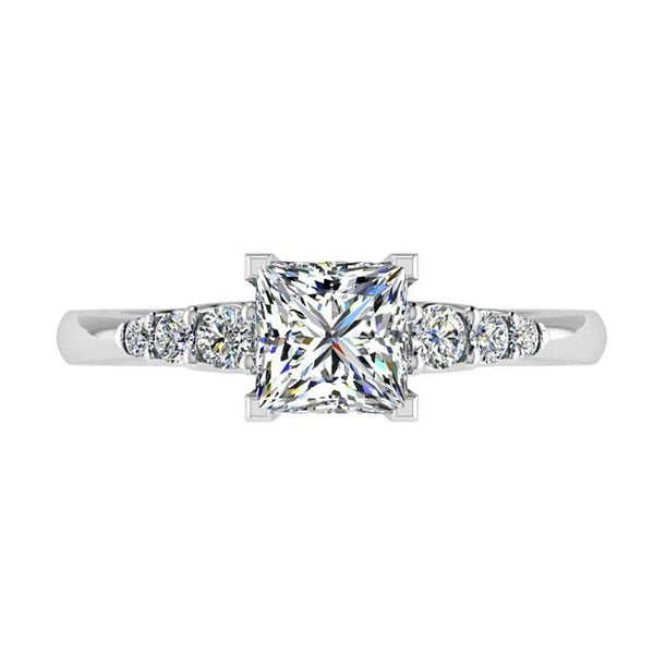 Princess Diamond Engagement Ring 6 Side Stones 18K Gold - Thenetjeweler by Importex