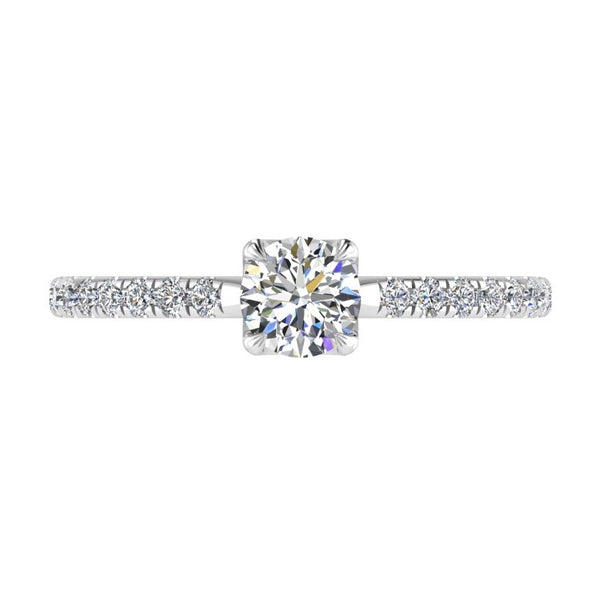 Round Diamond Side Stone Engagement Ring 18K Gold