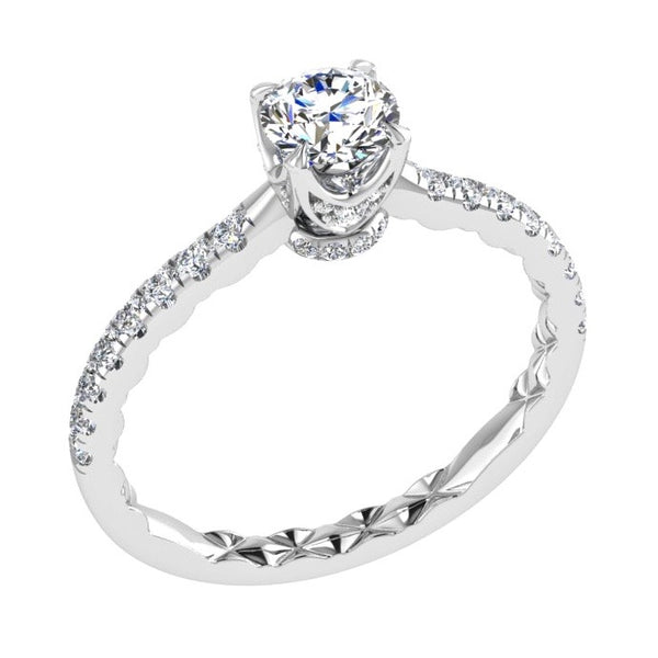 diamond crown engagement ring