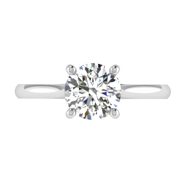 4 Prong Round Diamond Solitaire Engagement Ring 18K Gold