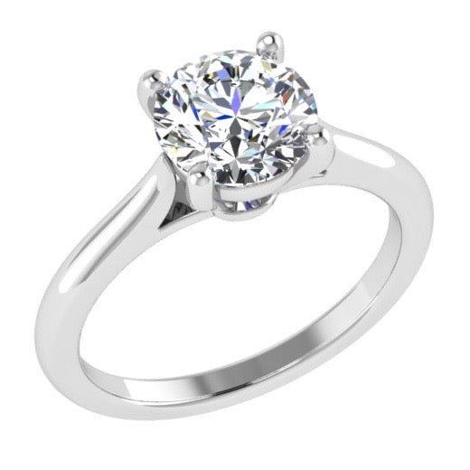 4 Prong Round Diamond Solitaire Engagement Ring 18K Gold - Thenetjeweler