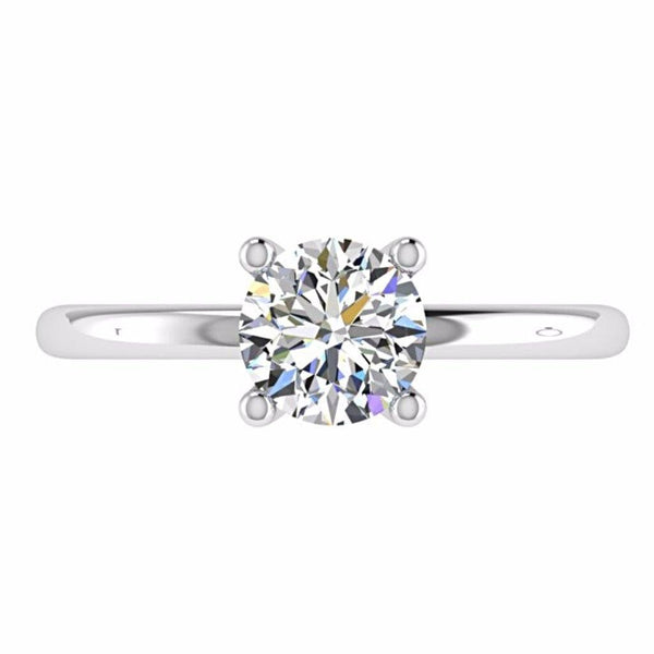 Round Diamond Solitaire Engagement Ring 18K Gold - Thenetjeweler