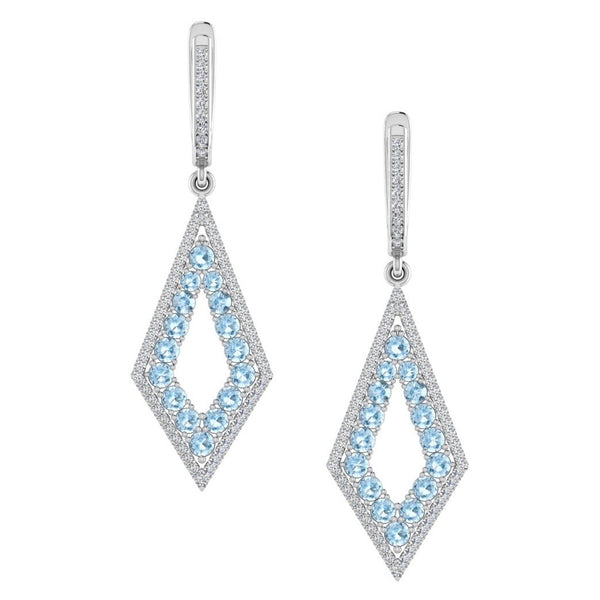 Diamond and Blue Topaz Drop Earrings 14K Gold