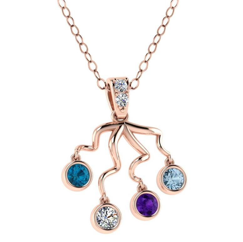 Tree Branch Birthstone Pendant 14K Rose Gold - Thenetjeweler