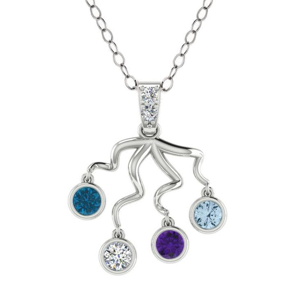 Four Birthstone Necklace 14K Gold - Thenetjeweler