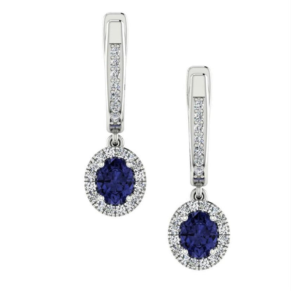 Oval cut Sapphire and Diamond Drop Earrings 18K White Gold - Thenetjeweler by Importex