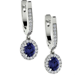 Oval cut Sapphire and Diamond Drop Earrings 18K White Gold - Thenetjeweler
