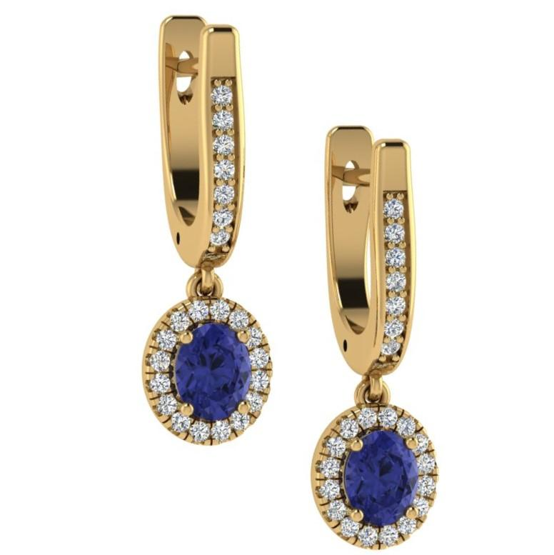 Oval Blue Sapphire and Diamond Earrings 18K Pink Gold - Thenetjeweler by Importex