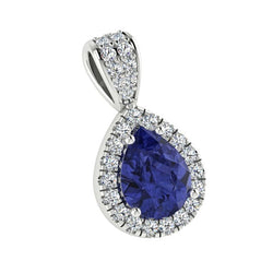 Sapphire Pear Shaped Diamond Halo Pendant 18K White Gold - Thenetjeweler