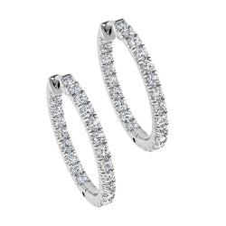 Inside Outside Diamond Hoop Earrings 18K Gold (4.40 ct. tw) - Thenetjeweler