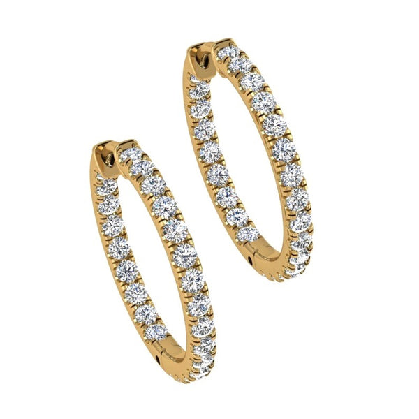 Inside Outside Diamond Hoop Earrings 18K Gold