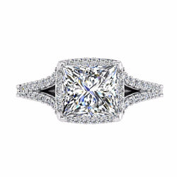 Princess Cut Split Shank Halo Diamond Engagement Ring 18K Gold - Thenetjeweler