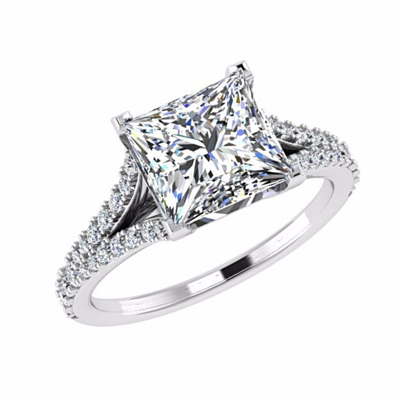 Princess Cut Split Shank Side Stone Diamond Engagement Ring 18K Gold - Thenetjeweler