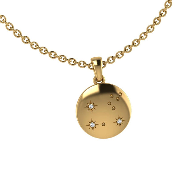 Leo Zodiac Constellation Pendant with Diamonds 10K Gold
