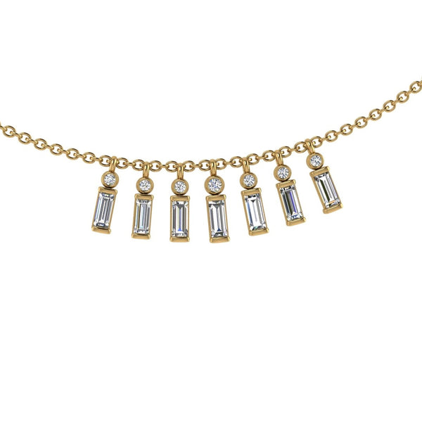 Baguette and Round Diamond Necklace 14K Gold