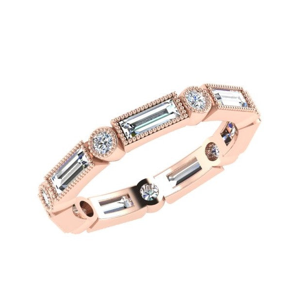 Baguette and Round Diamond Eternity Band 18K Rose Gold (1.07 ct.tw.) - Thenetjeweler