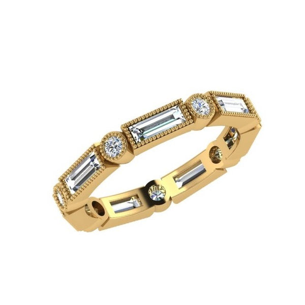 Baguette and round diamond eternity band made of 18k Gold. The diamonds weigh approximately 1.07 carats in total. Available in white, yellow, and pink/rose gold. Custom made in wedding rings in Montreal, Canada.