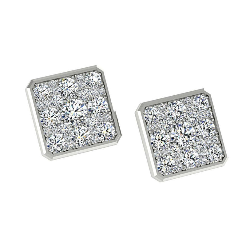 Square Diamond Earrings 18K White Gold - Thenetjeweler
