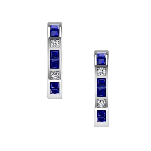 Diamond and Sapphire Hoops Huggies Earrings 14K Gold - Thenetjeweler