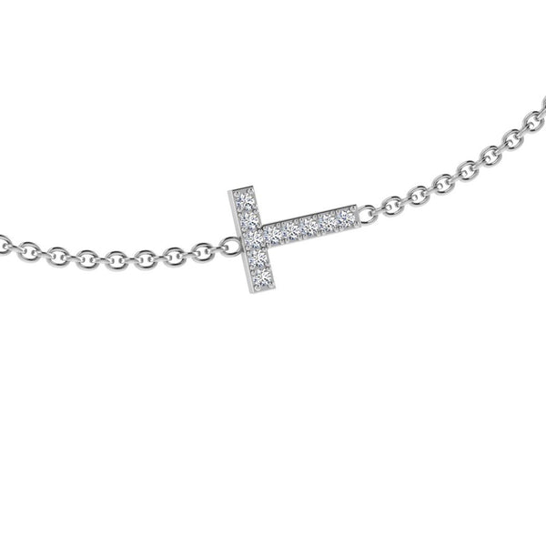 Diamond Initial Charm Bracelet - Thenetjeweler by Importex