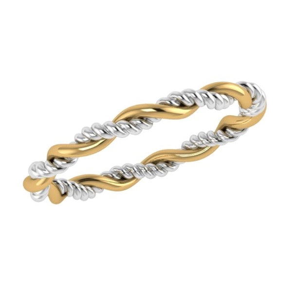 Two Tone Twisted Ring 18K Gold
