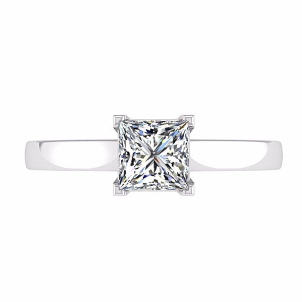 Princess Cut Solitaire Diamond Engagement Ring 18K Gold - Thenetjeweler by Importex