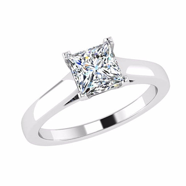 Princess Cut Solitaire Diamond Engagement Ring 18K Gold - Thenetjeweler