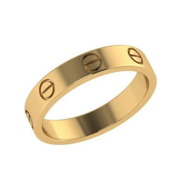Screw Design Ring Band 18K Gold - Thenetjeweler