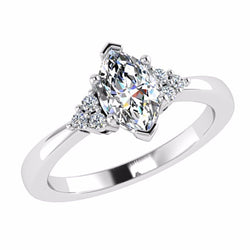 Marquise Diamond Engagement Ring with Side Stone 18K Gold - Thenetjeweler