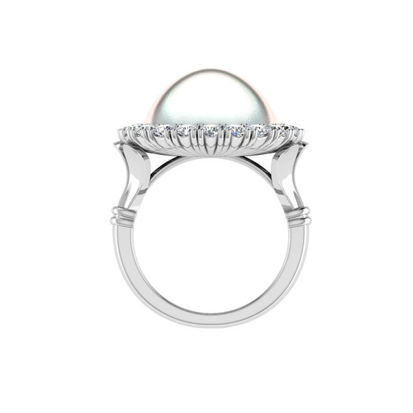 Mabe Pearl Diamond Halo Ring - Thenetjeweler