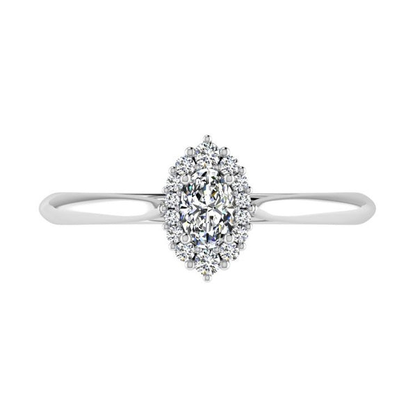 Oval Diamond Cluster Engagement Ring 0.18 carat TW - Thenetjeweler