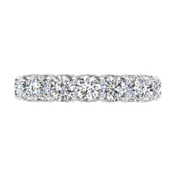 Fancy Round Pave Diamond Eternity Ring 18K Gold