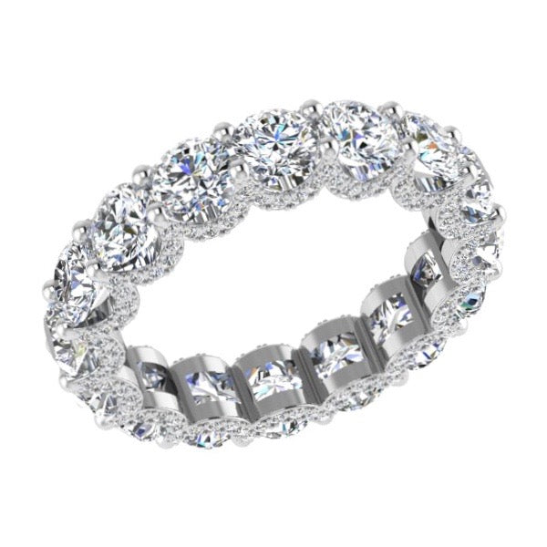 Fancy Round Pave Diamond Eternity Ring 18K Gold (4.0 ct. tw) - Thenetjeweler
