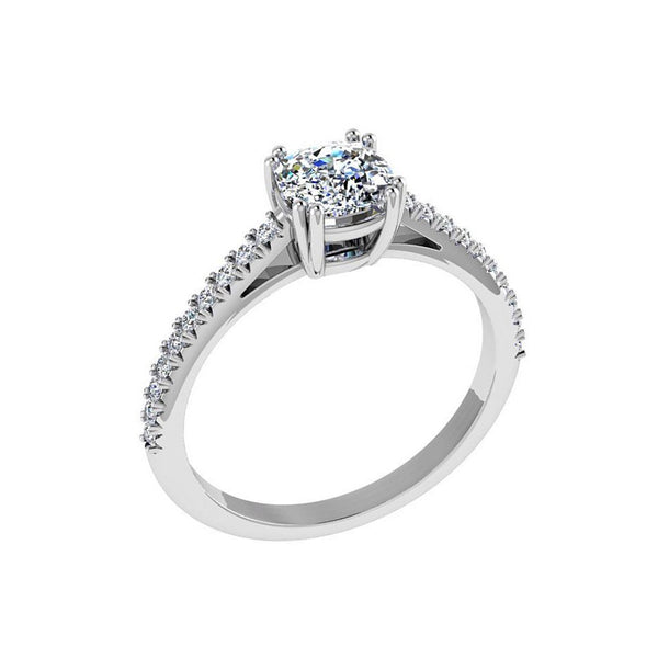 Cushion Diamond Engagement Ring Side Stones 18K Gold (0.16 ct. tw.) - Thenetjeweler by Importex