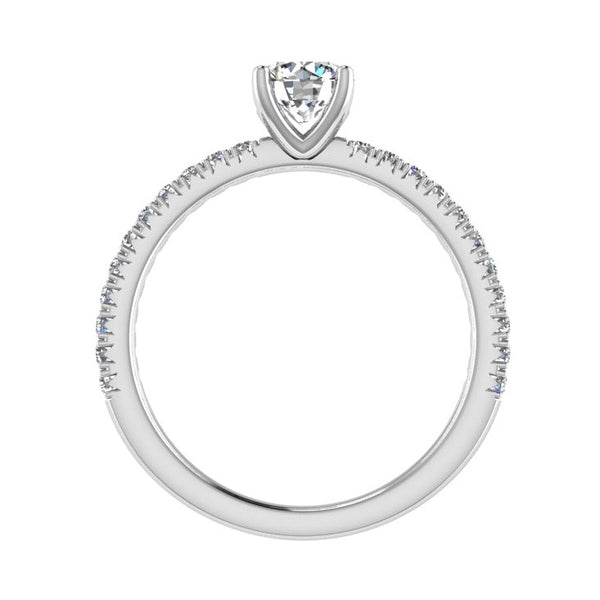 Round Diamond Engagement Ring with Side Stones 18K Gold (0.22 ct. tw) - Thenetjeweler