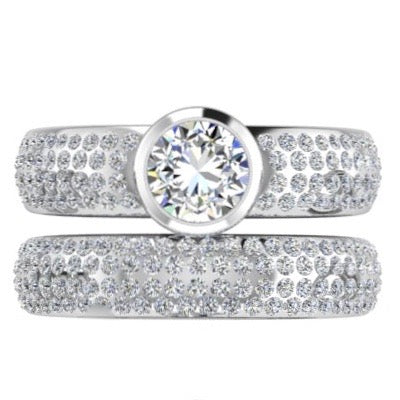 Pave Diamond Bezel Engagement Ring and Band Set - Thenetjeweler