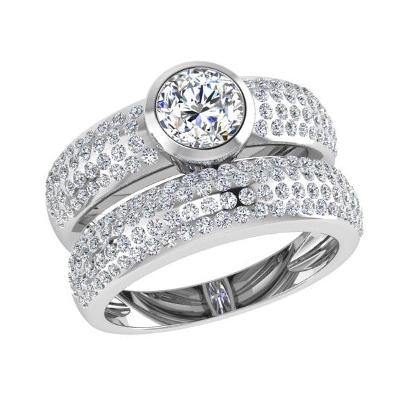 Pave Diamond Bezel Engagement Ring and Band Set