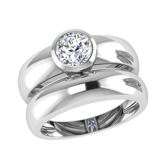 Round Solitaire Diamond Bezel Engagement Ring and Band Set