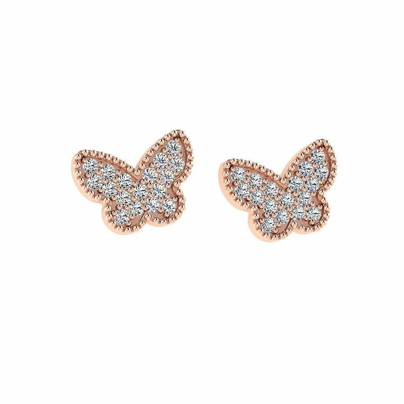 Butterfly Diamond Earrings 14K White Gold - Thenetjeweler by Importex