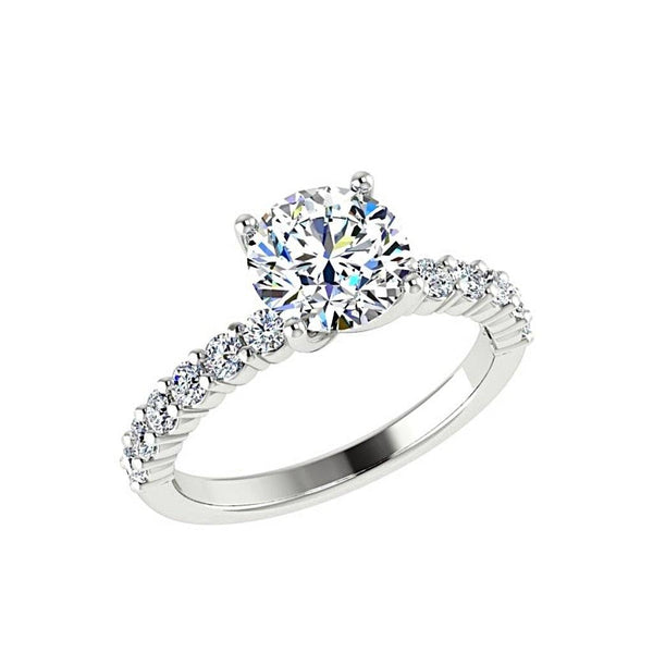 Round Diamond Engagement Ring with Side Stones (0.36 carat wt) - Thenetjeweler
