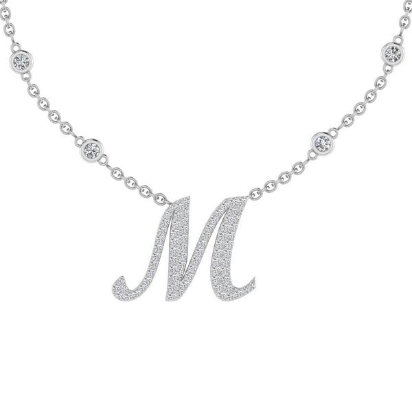 Diamond Initial Pendant Necklace 18K Gold (0.67 CT. TW) - Thenetjeweler