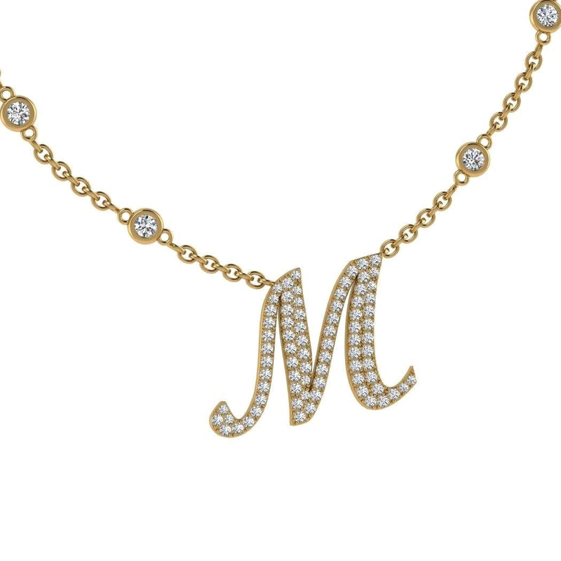 Diamond Initial Pendant Necklace 18K Gold (0.67 CT. TW) - Thenetjeweler by Importex
