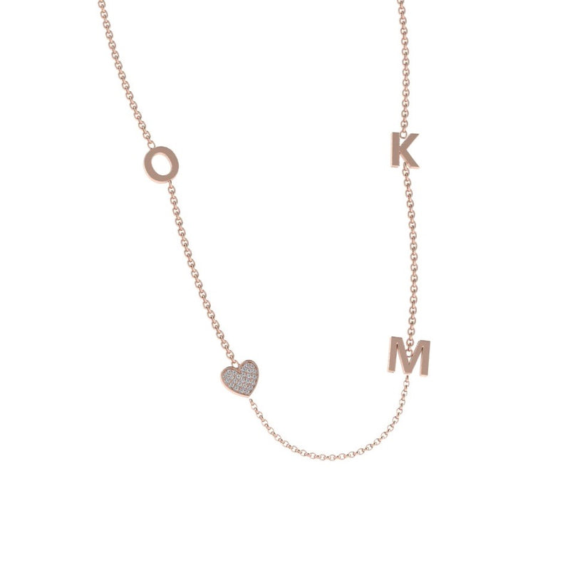Initial and Charm Personalized Diamond Necklace 14K Gold - Thenetjeweler