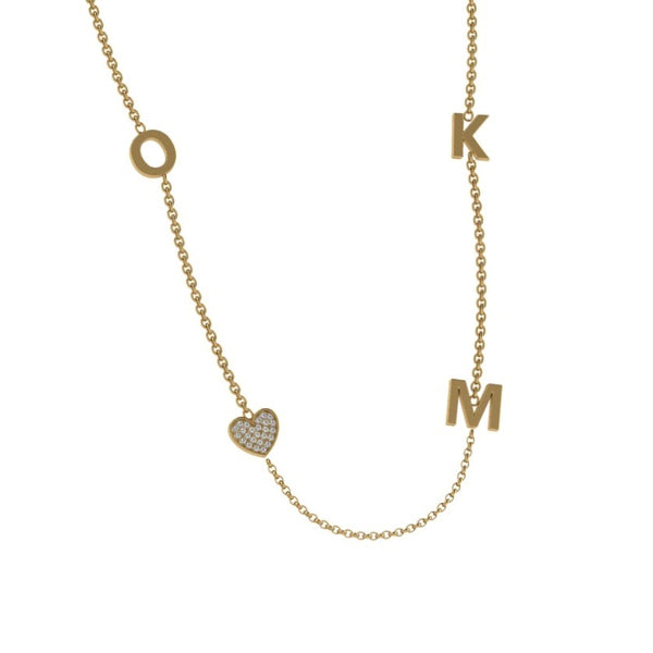 Initial Charm Necklace with Diamonds - Thenetjeweler