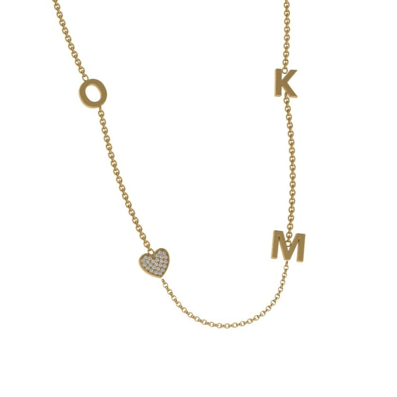 Initial and Charm Personalized Diamond Necklace