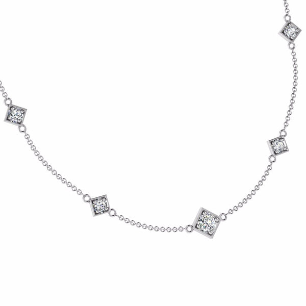 Square Setting Diamond-by-the-Yard Necklace 14K Gold - Thenetjeweler