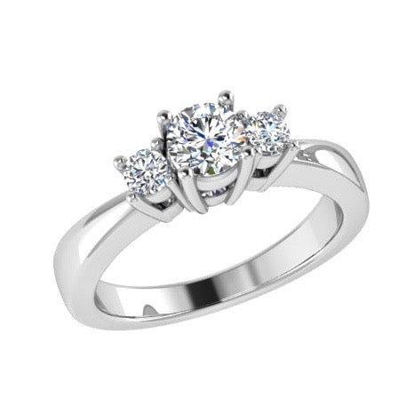 Round Three Stone Diamond Engagement Ring 18K Gold (0.15 ct. tw) - Thenetjeweler