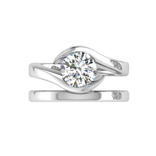 solitaire ring wedding set