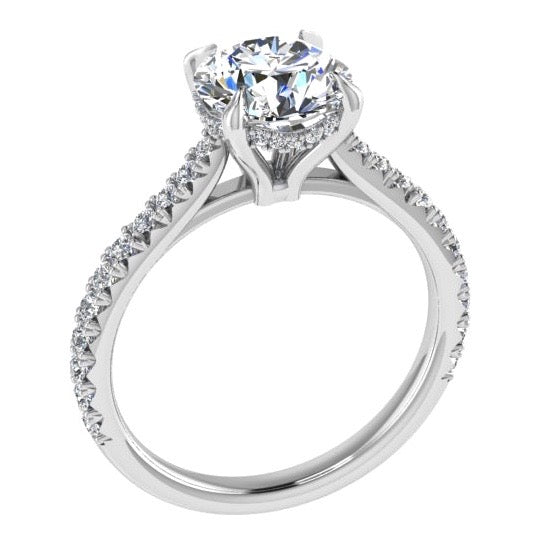 Round Diamond Side Stone Engagement Ring (0.26 ct. tw) - Thenetjeweler