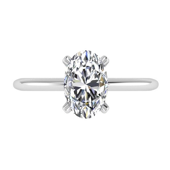 Oval Diamond Solitaire Engagement Ring - Thenetjeweler